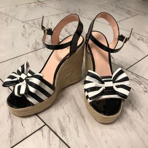 NEW Kate Spade Striped Bow Wedges/Espadrilles